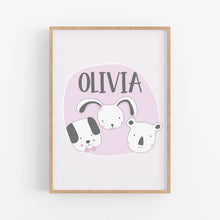 Load image into Gallery viewer, Baby animals girls birth stat cushion