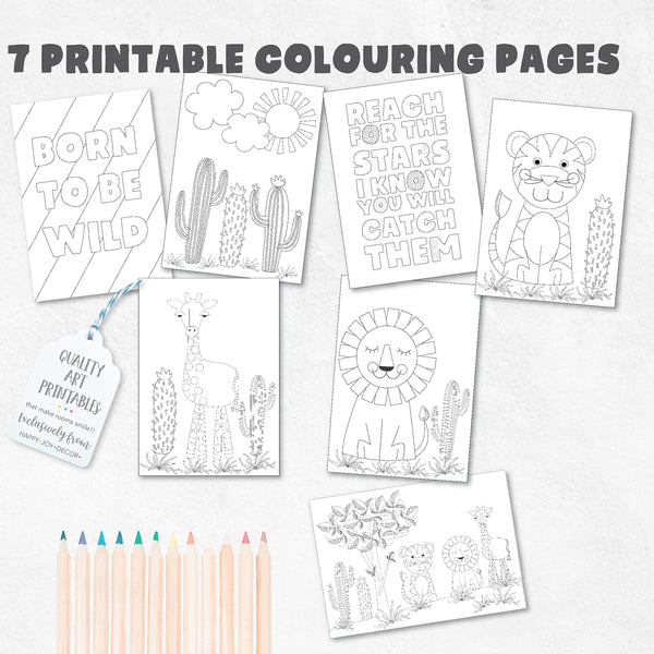 Safari Wonderland Printable Designer Colouring Pages