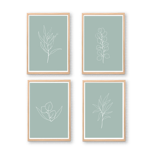 Sage Green Sketchy Leaf Printable Art Set - Happy Joy Decor