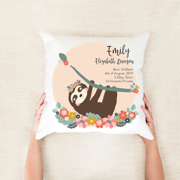 Sloth Girls Birth Stat Cushion