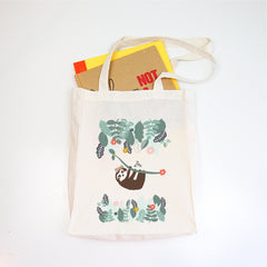 Sloth Personalised Library Tote Bag - Happy Joy Decor