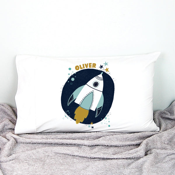 Space Rocket Personalised Pillowcase - Happy Joy Decor