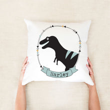 Load image into Gallery viewer, T-Rex Personalised Cushion - boys custom name pillow - Happy Joy Decor