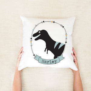 T-Rex Personalised Cushion - boys custom name pillow - Happy Joy Decor