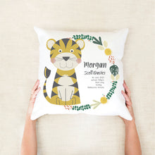 Load image into Gallery viewer, Tiger Birth Stat Cushion - Boys Nursery Decor -  Happy Joy Decor