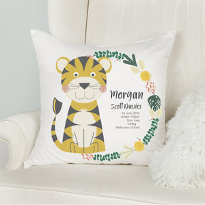 Tiger Birth Stat Cushion - Boys Nursery Decor -  Happy Joy Decor