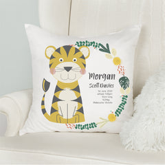 Tiger Birth Stat Cushion - Happy Joy Decor