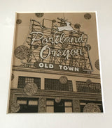 """Old Town Portland"" - 8""x10"" Original Drawing FRAMED"