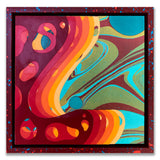 """Overlapping Embers"" Mash-Up 10x10 Wood Panel w/ Custom Frame"