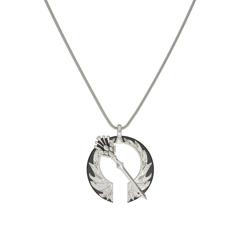Outlander Thistle Open Circle Pendant Necklace designed by BIXLER