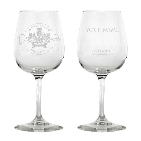 Droughtlander Wine Club Member Personalized Wine Glass from Outlander