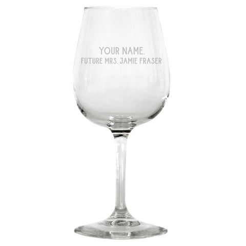 Future Mrs. Jamie Fraser Personalized Wine Glass from Outlander