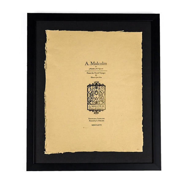Limited-Edition Framed Print Hand-Typeset on the 1800s Outlander Press