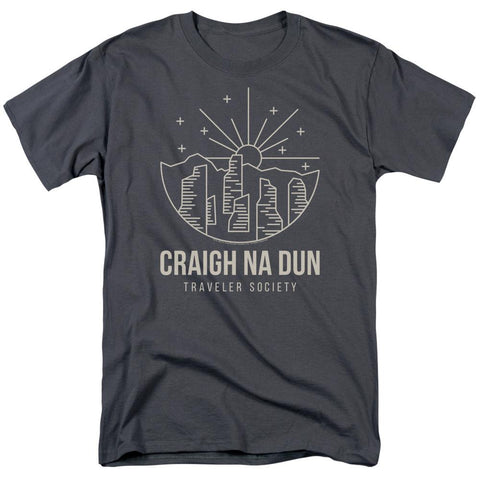 Outlander Craigh Na Dun Travelers Society Adult Charcoal T-Shirt