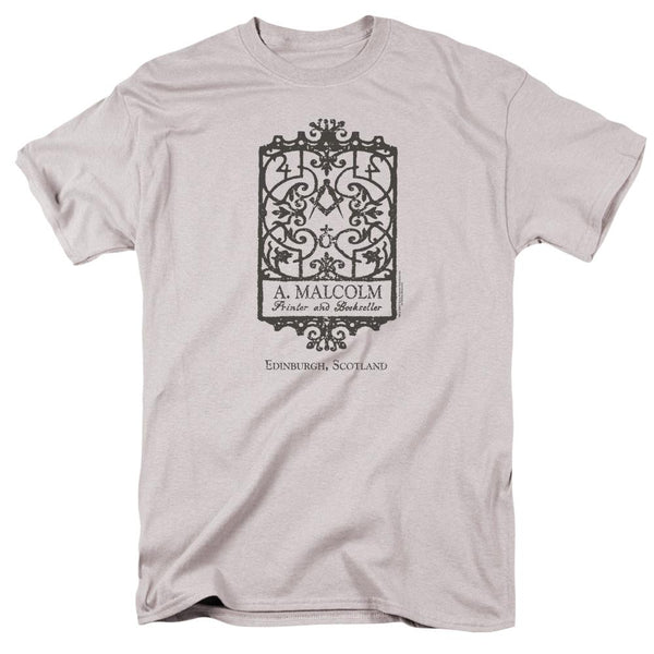 Outlander A. Malcolm Printer and Bookseller Silver Adult T-Shirt
