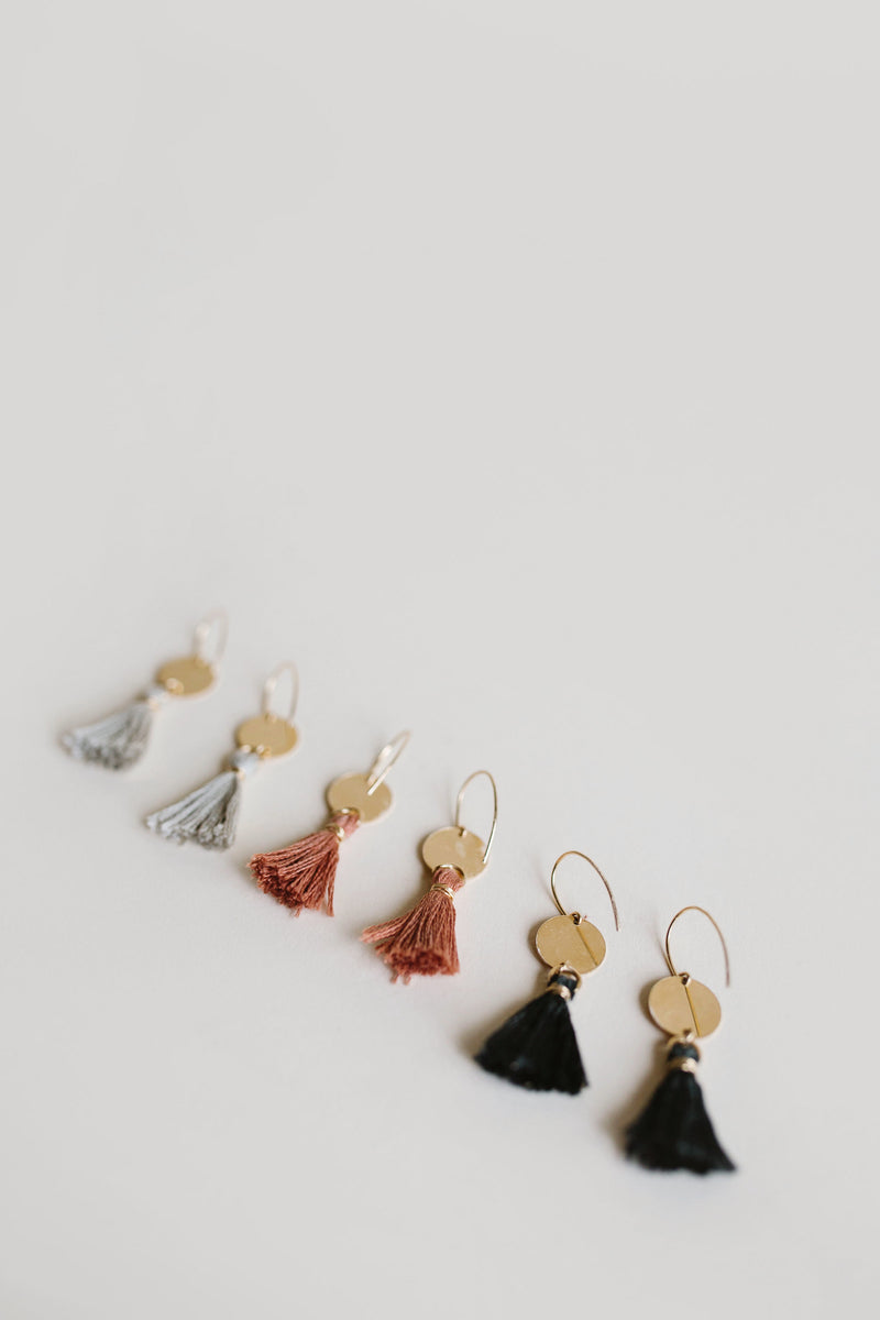 NOMAD Tassel Earrings in 3 colorways: Grey / Black / Desert Rose