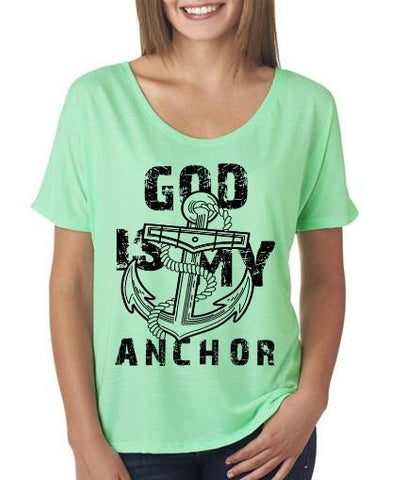 God is my Anchor Flowy Shirt Mint Color