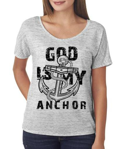 God is my Anchor Flowy Shirt White Marble Color