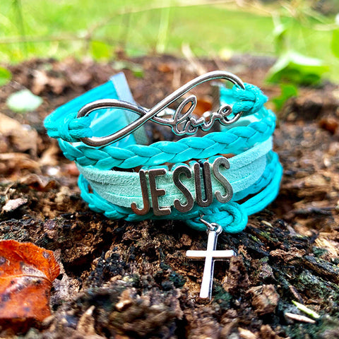 Infinite Love Cross Bracelet Mint Blue And Silver