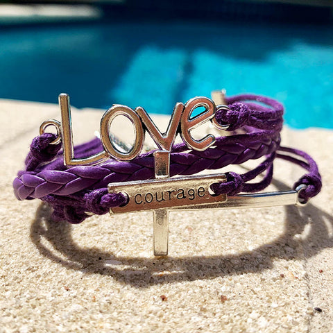Image of Love - Courage Cross Bracelet Purple And Silver