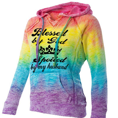 Blessed By God Rainbow Burnout Hoodie