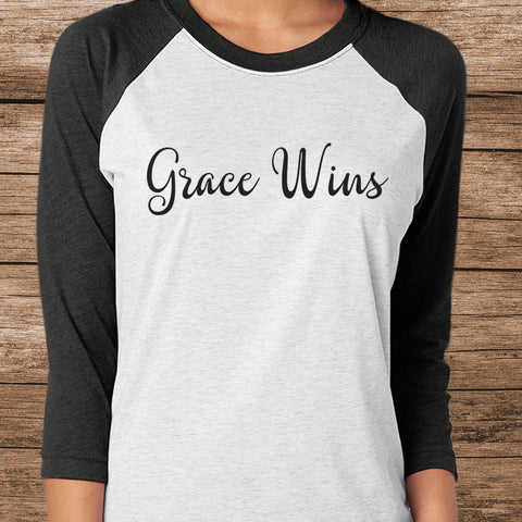 Image of Grace Wins Baseball Tee