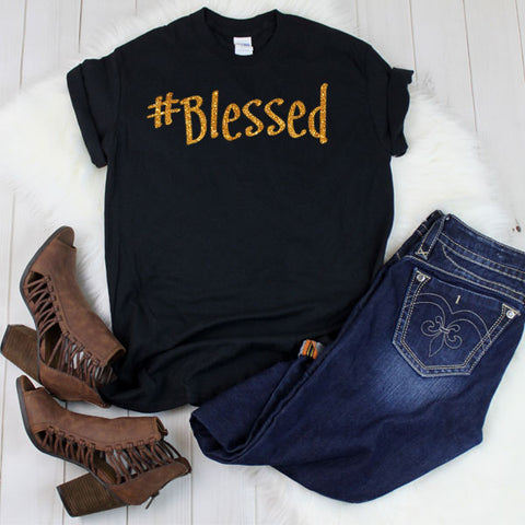 hashtag blessed shirt gold glitter