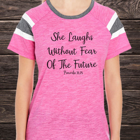 She Laughs Without Fear Of The Future Fan T-Shirt