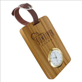 Teakwood Bag Tag With Quartz Clock
