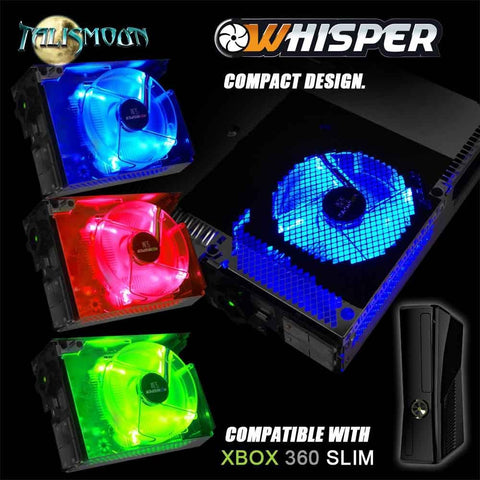 Talismoon Whisper Fan Red Blue Green for Microsoft Xbox 360 Slim Cooling