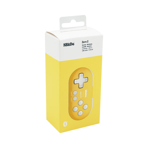 Yellow 8Bitdo Zero 2 Bluetooth Gamepad for the Switch/Windows/Mac/Android/Pie