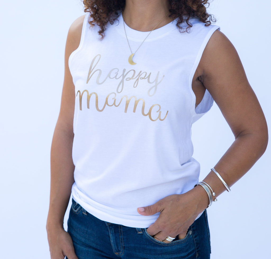 White Muscle Tank - Rose Gold Happy Mama