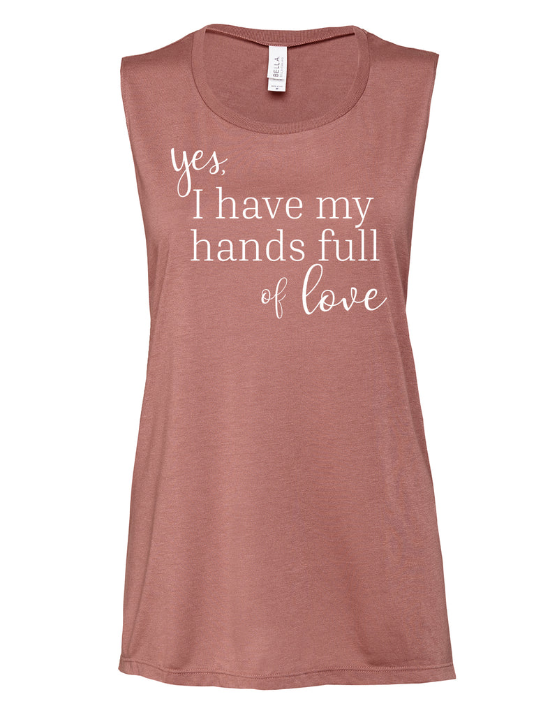 "Mauve ""Hands Full of Love"" Muscle Tank - Us+Four"