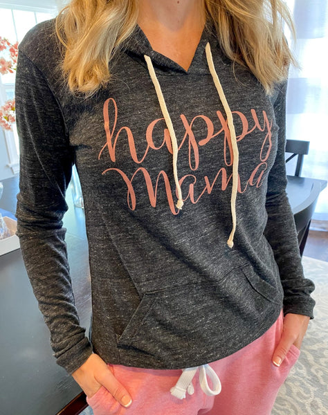 "Gray and Mauve ""Happy Mama"" T-Shirt Hoodie"