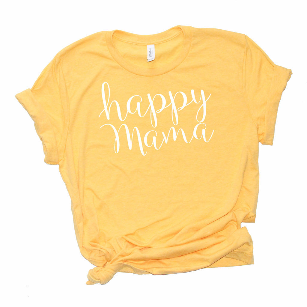 Heather Yellow Gold 'Happy Mama' T-shirt