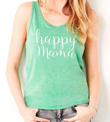 Green and white Happy Mama Tank Top