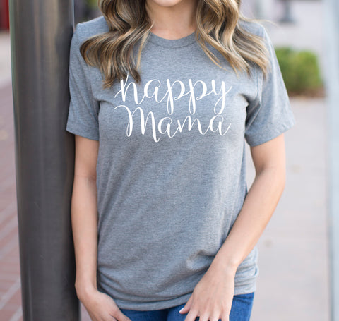 Imperfect Gray Crew Neck 'Happy Mama' T-shirt