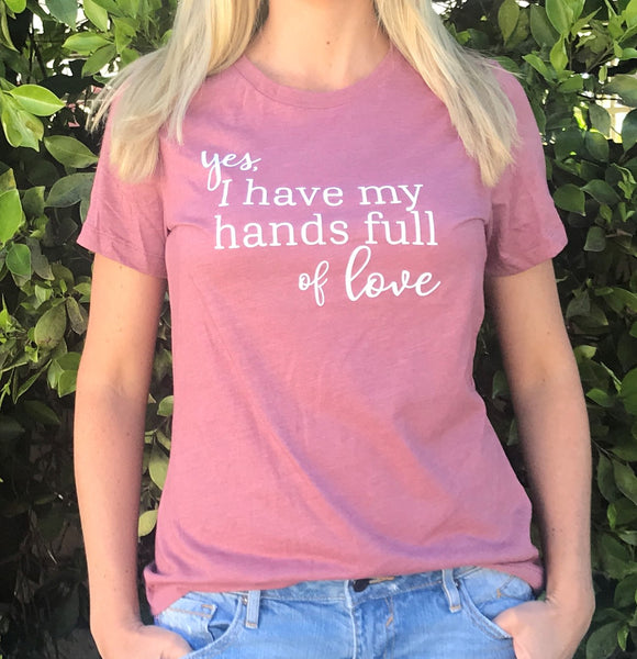 "Heather Mauve ""Hands Full of Love"" Tee - Us+Four"