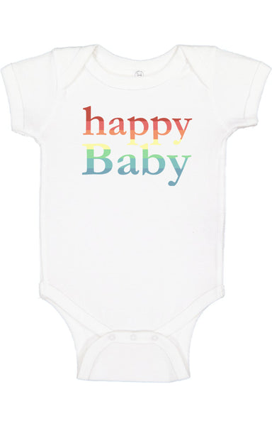 White Rainbow Happy Baby Bodysuit