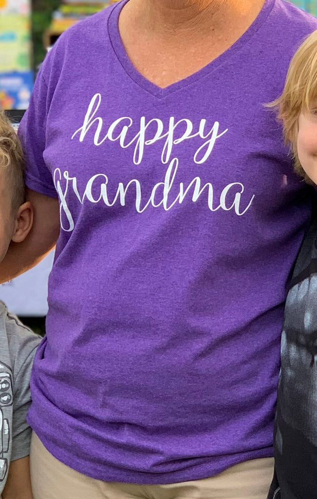 Violet Happy Grandma V-Neck Tee