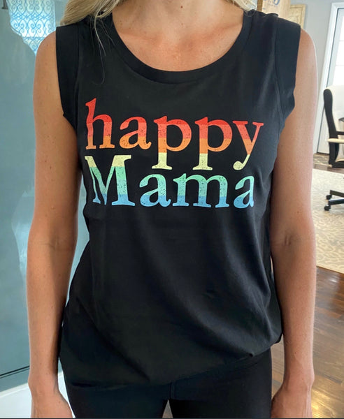 Black Rainbow Happy Mama Cap Sleeve Tank Top