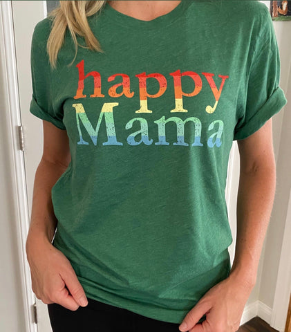 Green Triblend Rainbow Happy Mama Short Sleeve Tee