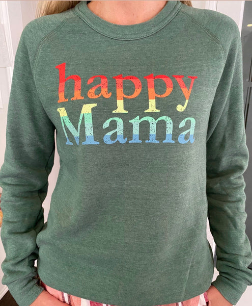 Heather Green Rainbow Happy Mama Sweatshirt