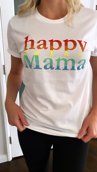 White Rainbow Happy Mama Short Sleeve Tee