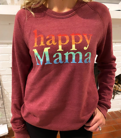 Heather Maroon Rainbow Happy Mama Sweatshirt