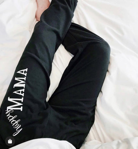 Black 'Happy Mama' Sweatpants