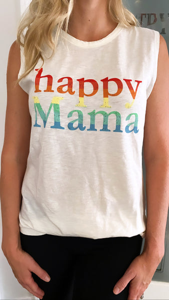 Vintage White Rainbow Happy Mama Muscle Tank