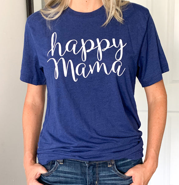 Navy Blue 'Happy Mama' T-shirt