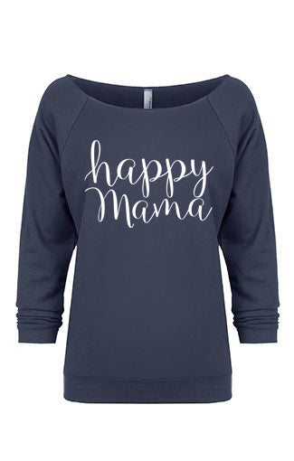Indigo 3/4 Sleeve, Off Shoulder, 'Happy Mama' Raglan - Us+Four