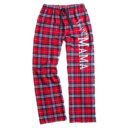 Red/Navy Flannel 'Happy Mama' Pants - Us+Four